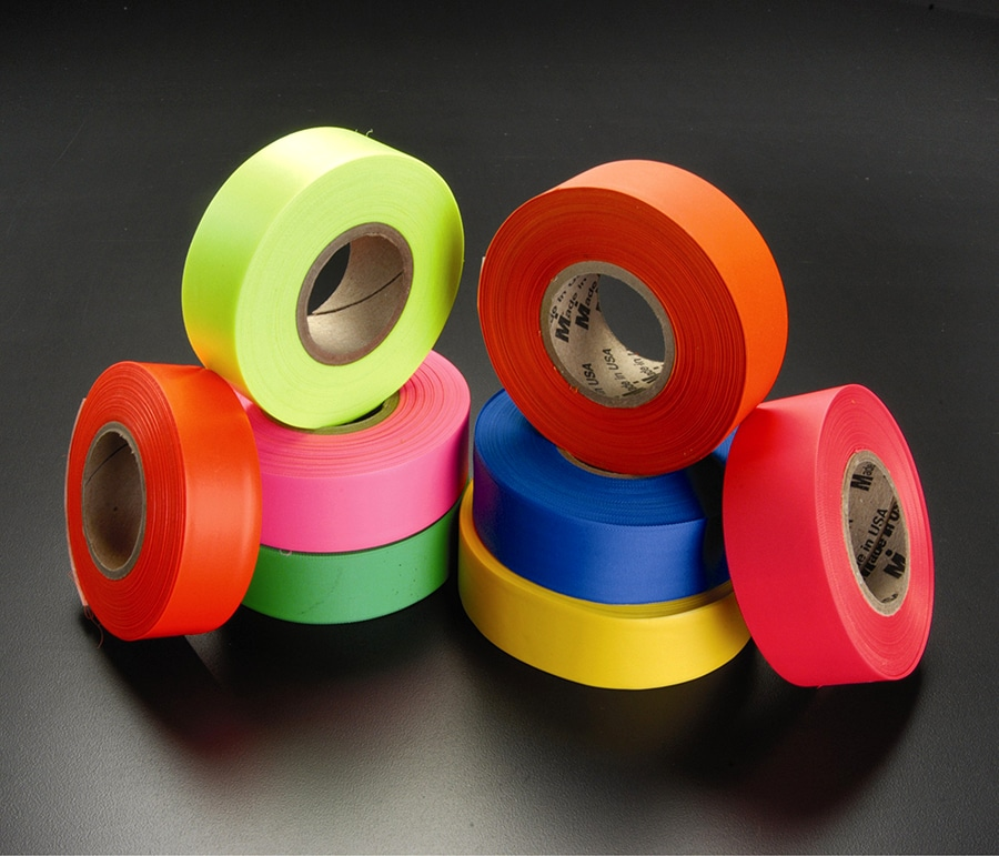 Assembled different colored flagging tape